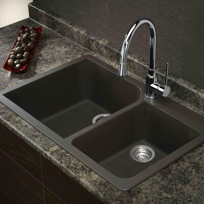 Radius 33 x 22  Granite Double Offset Drop-in Kitchen Sink Finish: Cafe Latte