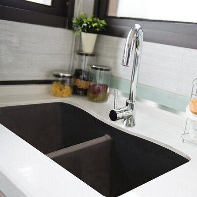 Aversa 32 x 19 Granite Double Equal Undermount Kitchen Sink Finish: Cafe Latte