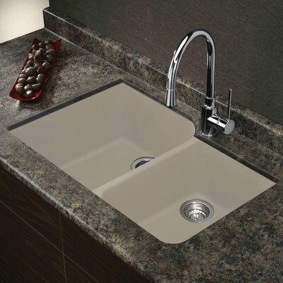Radius 31 x 20 Granite Double Offset Undermount Kitchen Sink Finish: Cafe Latte