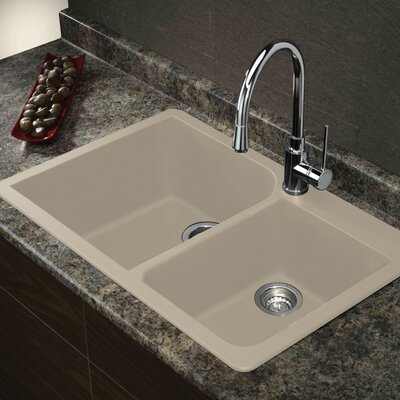 Radius 33 x 22  Granite Double Offset Drop-in Kitchen Sink Finish: Espresso
