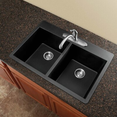Radius 33 x 22 Granite Double Equal Drop-in Kitchen Sink Finish: Black