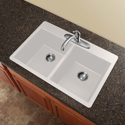 Radius 33 x 22 Granite Double Equal Drop-in Kitchen Sink Finish: White