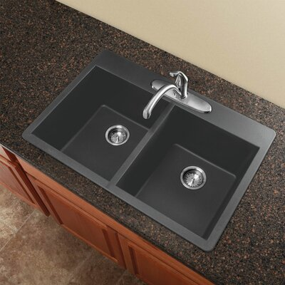 Radius 33 x 22 Granite Double Equal Drop-in Kitchen Sink Finish: Grey