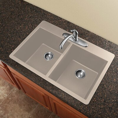 Radius 33 x 22 Granite Double Equal Drop-in Kitchen Sink Finish: Espresso
