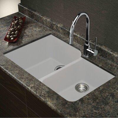Radius 31 x 20 Granite Double Offset Undermount Kitchen Sink Finish: White