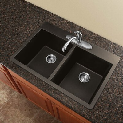 Radius 33 x 22 Granite Double Equal Drop-in Kitchen Sink Finish: Cafe Latte