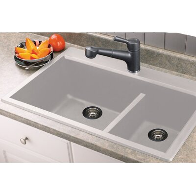 Radius 33 x 22 Granite Double offset Drop-in Kitchen Sink Finish: White