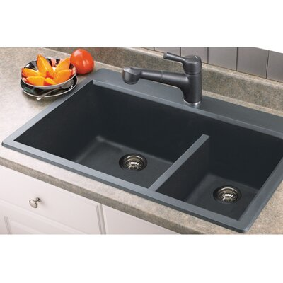 Radius 33 x 22 Granite Double offset Drop-in Kitchen Sink Finish: Grey