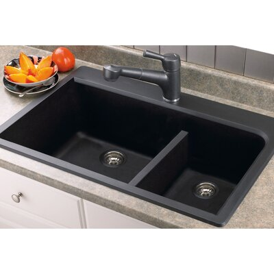 Radius 33 x 22 Granite Double offset Drop-in Kitchen Sink Finish: Black
