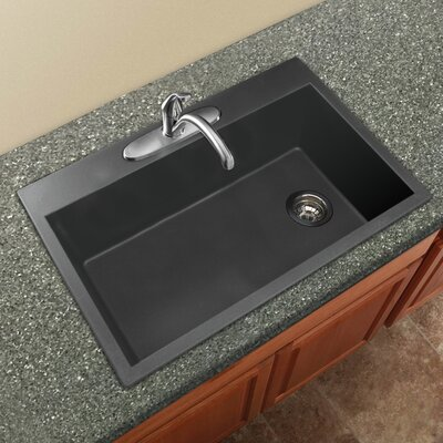 Radius 33 x 22 Granite Single Bowl Drop-in Kitchen Sink Finish: Grey