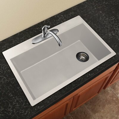 Radius 33 x 22 Granite Single Bowl Drop-in Kitchen Sink Finish: White