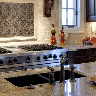 Radius 31 x 18.5 Granite Double Offset Undermount Kitchen Sink Finish: Black