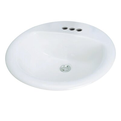 Preston Drop-in Self Rimming Bathroom Sink with Faucet Center 8 Faucet Mount: 4, Sink Finish: Biscuit
