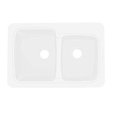 Savannah 22 x 33 Double Bowl Kitchen Sink Finish: White