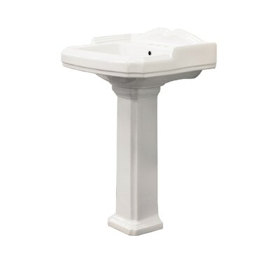 Harrison Vitreous China 30 Pedestal Bathroom Sink with Overflow Sink Finish: White
