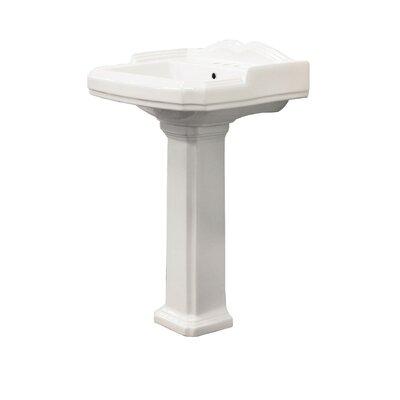 Harrison 18 Pedestal Bathroom Sink with Overflow Sink Finish: White