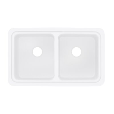 Aberdeen 18 x 30 Double Bowl Kitchen Sink Finish: White