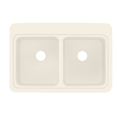 Cambridge 22 x 33 Double Bowl Kitchen Sink Finish: Almond