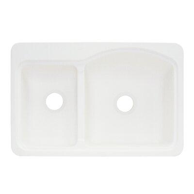Cambridge 22 x 33 Double Bowl Kitchen Sink Finish: White