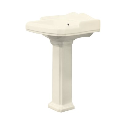Harrison Vitreous China Rectangular Pedestal Bathroom Sink with Overflow Sink Finish: Biscuit