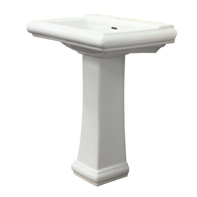 Avalon Vitreous China 26 Pedestal Bathroom Sink with Overflow Faucet Mount: 8