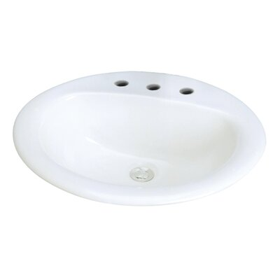 Akron Vitreous China Oval Drop-In Bathroom Sink with Overflow Sink Finish: White