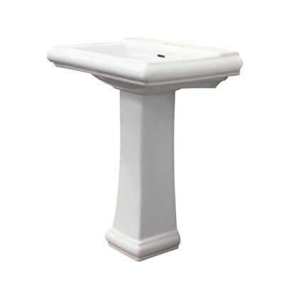 Avalon Vitreous China Rectangular Pedestal Bathroom Sink with Overflow Faucet Mount: 4