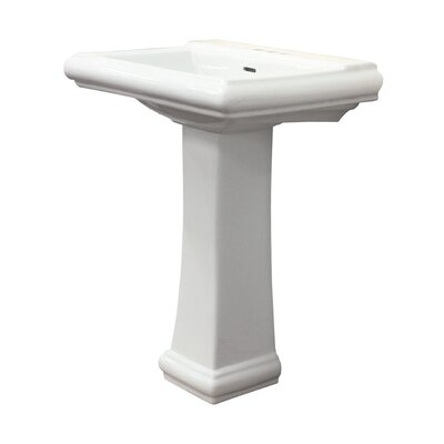 Avalon Vitreous China Rectangular Pedestal Bathroom Sink with Overflow Faucet Mount: 8