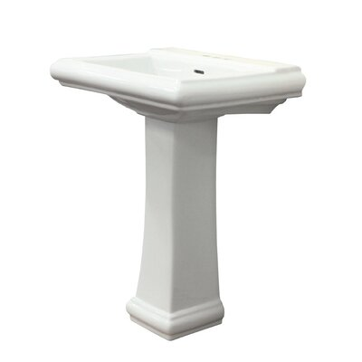 Avalon Vitreous China 26 Pedestal Bathroom Sink with Overflow Faucet Mount: 4