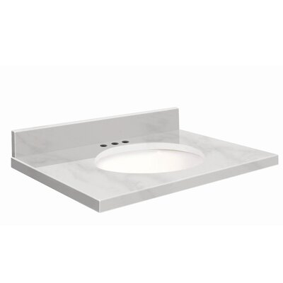 37 Single Bathroom Vanity Top Top Finish: White Carrara, Faucet Mount: 4 Centerset, Bowl Configuration: White