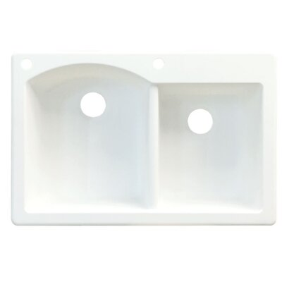 Aversa 33 x 22 Double Basin Drop-in Kitchen Sink Finish: White, Faucet Drillings: 2 hole