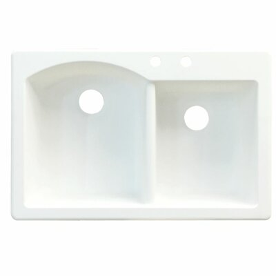 Aversa 33 x 22 Double Basin Drop-in Kitchen Sink Finish: White, Faucet Drillings: 4 hole