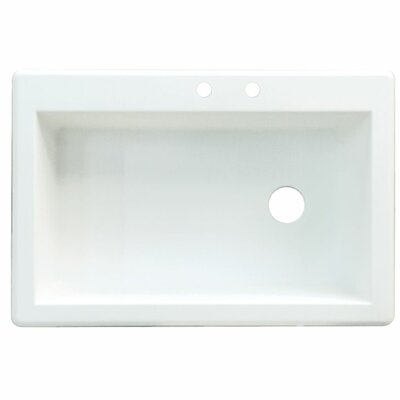 Radius 33 x 22 Single Basin Drop-in Kitchen Sink Finish: White, Faucet Drillings: 2 hole