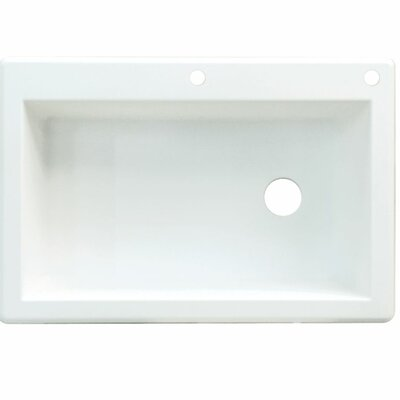 Radius 33 x 22 Single Basin Drop-in Kitchen Sink Finish: White, Faucet Drillings: 3 hole