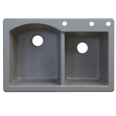 Aversa 33 x 22 Double Basin Drop-in Kitchen Sink Finish: Gray