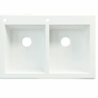 Radius 33 x 22 Double Basin Drop-in Kitchen Sink Finish: Gray, Faucet Drillings: 2 hole