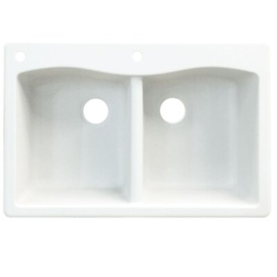 Aversa 33 x 22 Double Basin Drop-in Kitchen Sink Finish: Black, Faucet Drillings: 3 hole