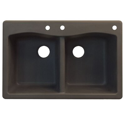 Aversa 33 x 22 Double Basin Drop-in Kitchen Sink Finish: Espresso