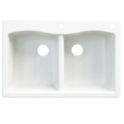 Aversa 33 x 22 Double Basin Drop-in Kitchen Sink Finish: White, Faucet Drillings: 3 hole