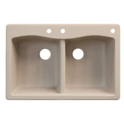 Aversa 33 x 22 Double Basin Drop-in Kitchen Sink Finish: Cafe Latte