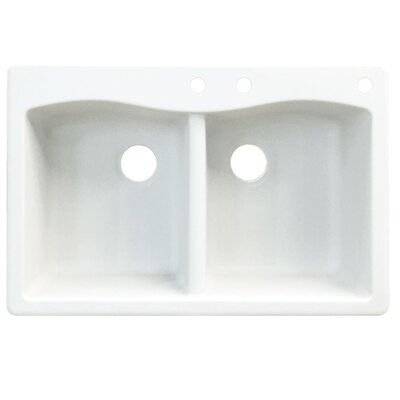 Aversa 33 x 22 Double Basin Drop-in Kitchen Sink Finish: White