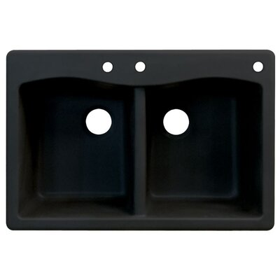 Aversa 33 x 22 Double Basin Drop-in Kitchen Sink Finish: Black