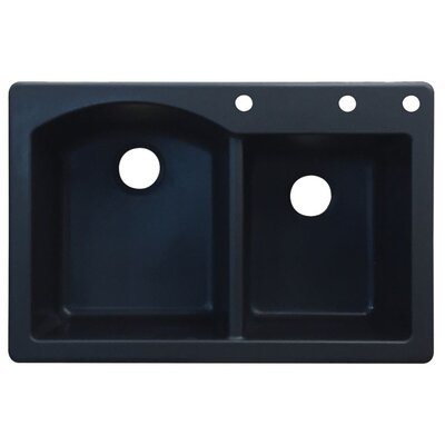 Aversa 33 x 22 Double Basin Drop-in Kitchen Sink Finish: Black