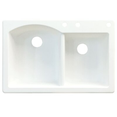 Aversa 33 x 22 Double Basin Drop-in Kitchen Sink Finish: White