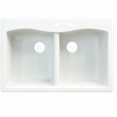 Aversa 33 x 22 Double Basin Drop-in Kitchen Sink Faucet Drillings: 4 hole, Finish: Cafe Latte