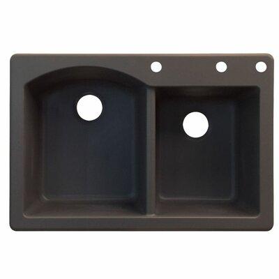 Aversa 33 x 22 Double Basin Drop-in Kitchen Sink Finish: Espresso