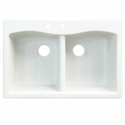 Aversa 33 x 22 Double Basin Drop-in Kitchen Sink Finish: Gray, Faucet Drillings: 3 hole
