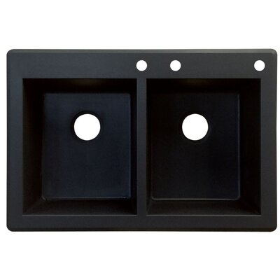 Radius 33 x 22 Double Basin Drop-in Kitchen Sink Finish: Black