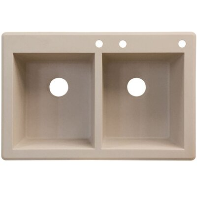 Radius 33 x 22 Double Basin Drop-in Kitchen Sink Finish: Cafe Latte