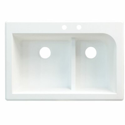 Radius 33 x 22 Double Basin Drop-in Kitchen Sink Finish: White, Faucet Drillings: 5 hole